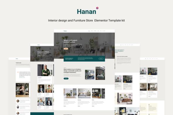 Hanan - Interior Design & Furniture Store Elementor Template kit