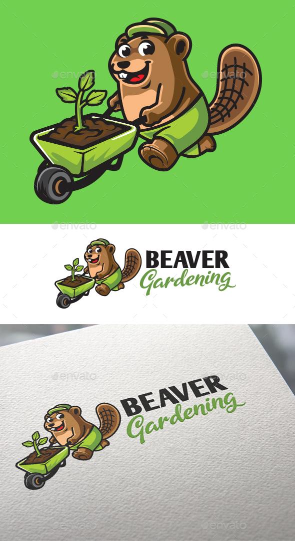 Cartoon Beaver Gardener Mascot Logo