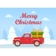 Retro Pickup Red Truck with Green Gift Box - GraphicRiver Item for Sale