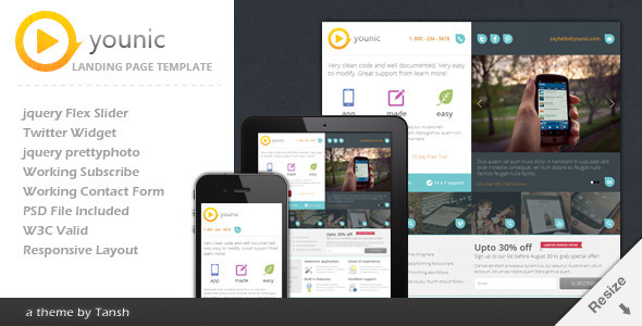 Younic Responsive Landing Page
