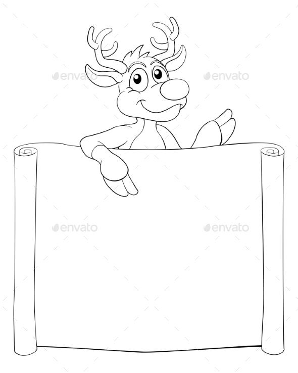 Christmas Reindeer Cartoon Sign