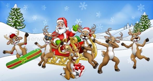 Christmas Fun Scene Santa Claus Sled and Reindeer