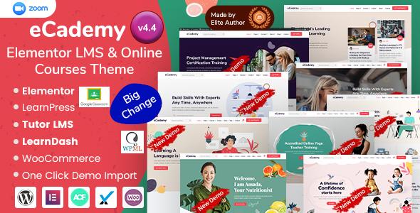 eCademy - Elementor LMS & Online Courses Education Theme