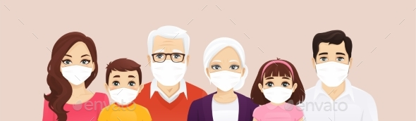 Family Portrait in Protective Masks