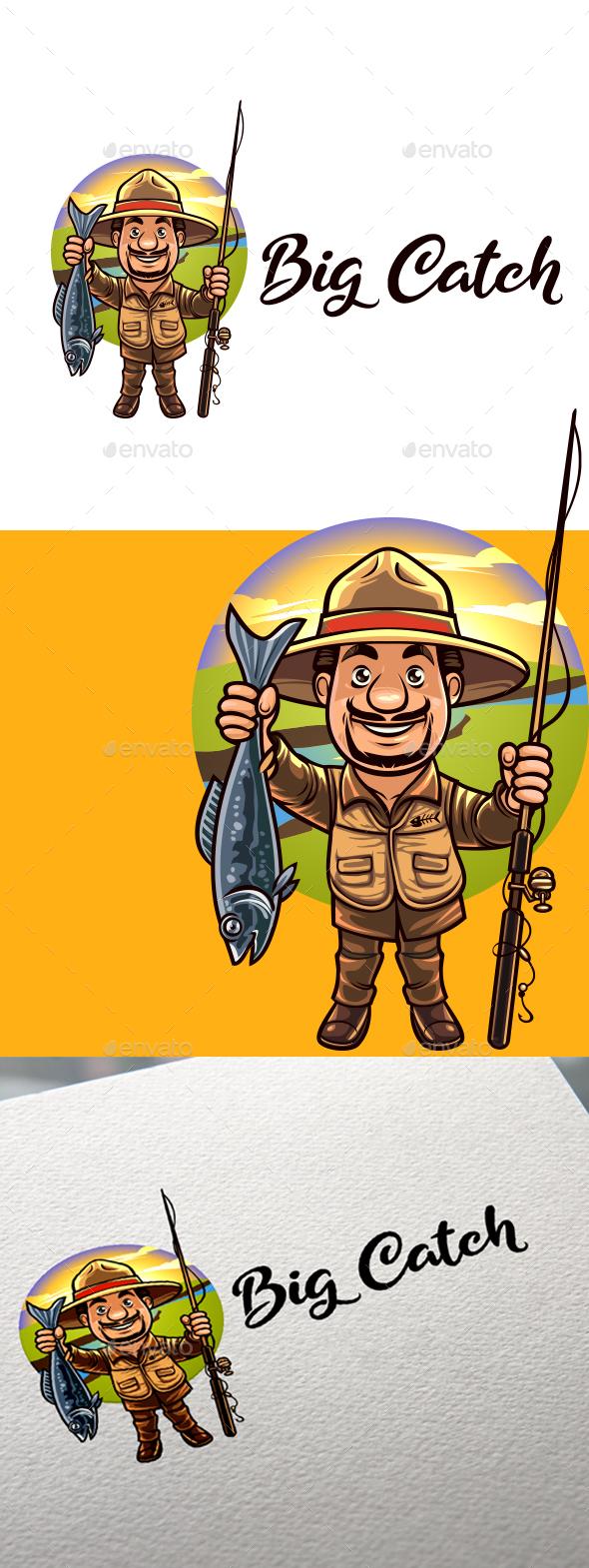 Cartoon Old Angler Character Mascot Logo