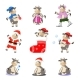 New Year Set with Cartoon Bulls - GraphicRiver Item for Sale