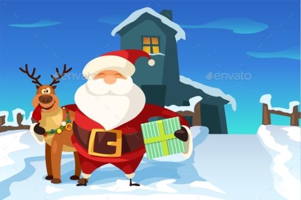 Santa Claus and Reindeer Near House