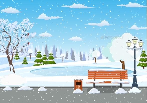 Winter Day Park Scene.