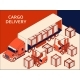 Isometric Semi Truck with Red Cab Transporting - GraphicRiver Item for Sale