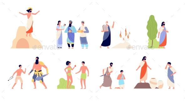 Bible Scenes. Religion People, Isolated Biblical