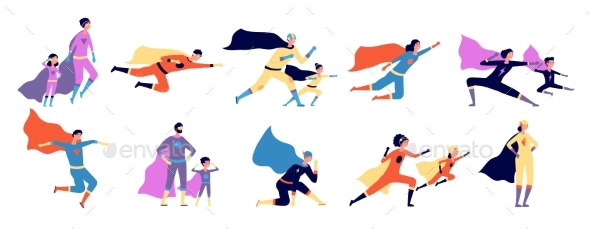 Superhero Family. Parents Kids in Costume, Strong