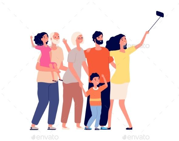 Happy Family Selfie. Cheerful People Portrait