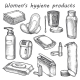 Woman Hygiene Products Vector Sketch - GraphicRiver Item for Sale