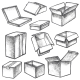 Boxes or Realistic Cargo Containers Sketch - GraphicRiver Item for Sale