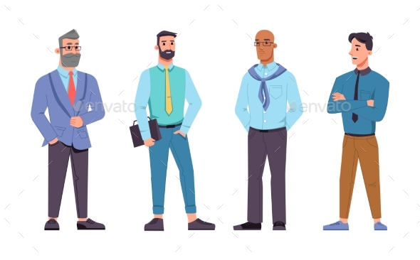 Businessmen of Different Ages Set
