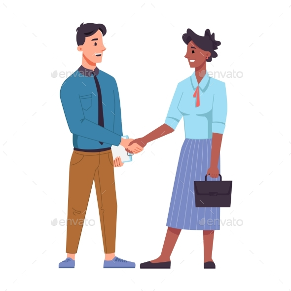 Multinational Man and Woman Shaking Hands Isolated