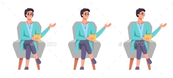 Psychologist in Chair Gesturing and Speaking Set