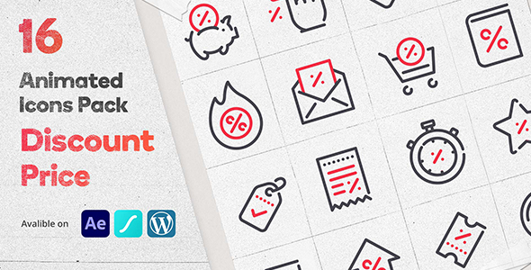 Discount Price 16 Animated Icons Pack - Wordpress Lottie Json Animation SVG