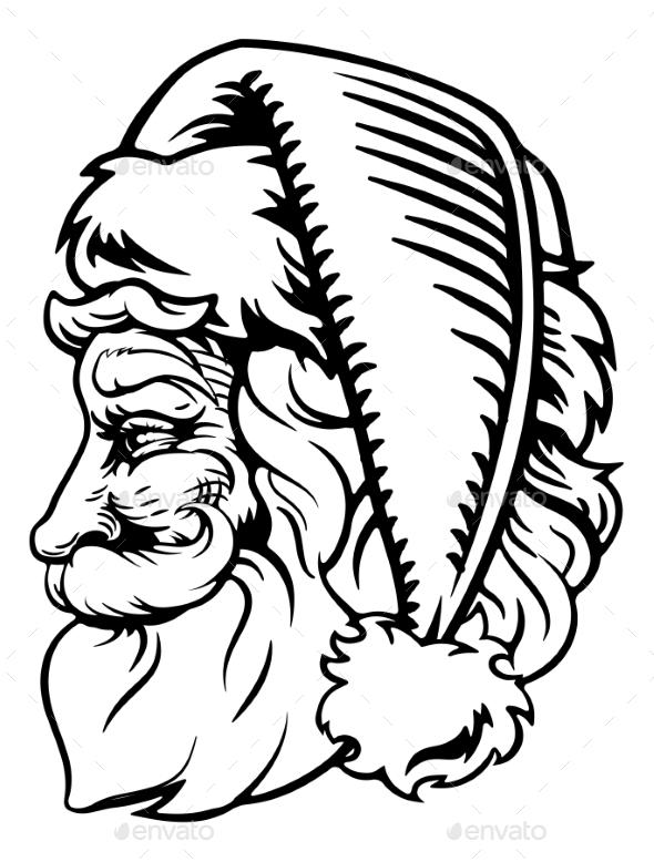 Christmas Santa Claus Retro Engrave Woodcut Style