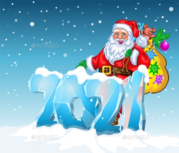 Happy New 2021 Year and Merry Christmas with Santa