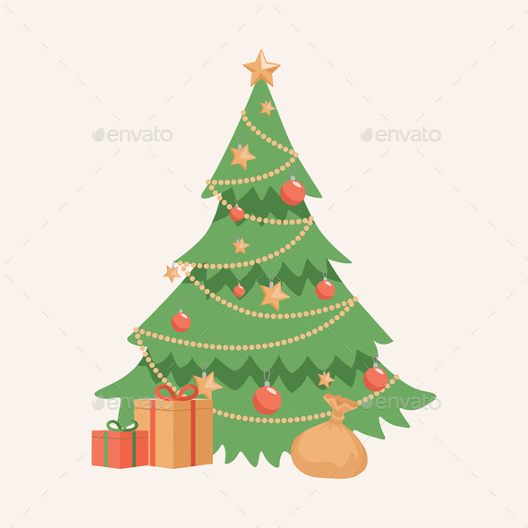 Decorated Christmas Tree with Gift Boxes Vector