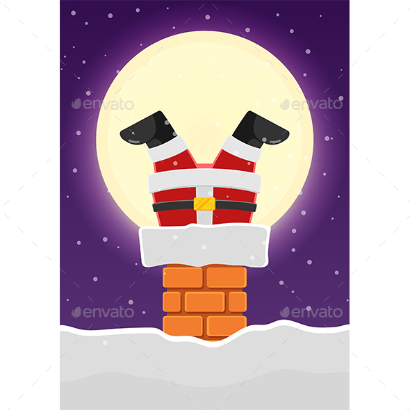 Santa Claus Stuck in The Chimney on The Snowy Roof