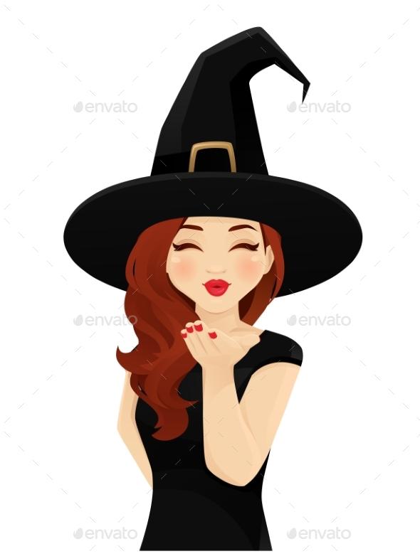 Halloween Woman Blowing Kiss