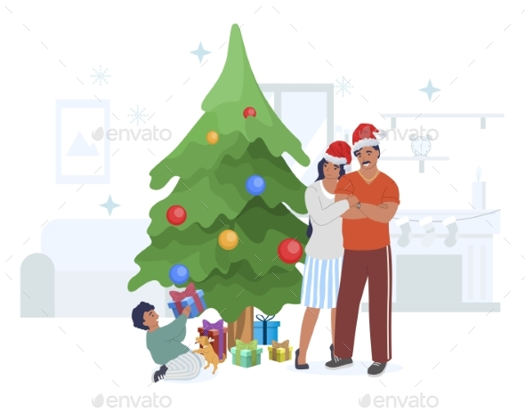 Happy Family Celebrating Christmas with Gifts