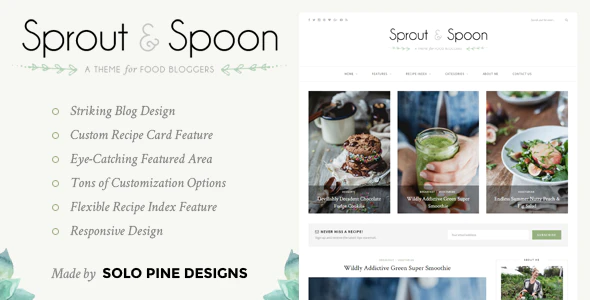 Sprout & Spoon – A WordPress Theme for Food Bloggers, Gobase64