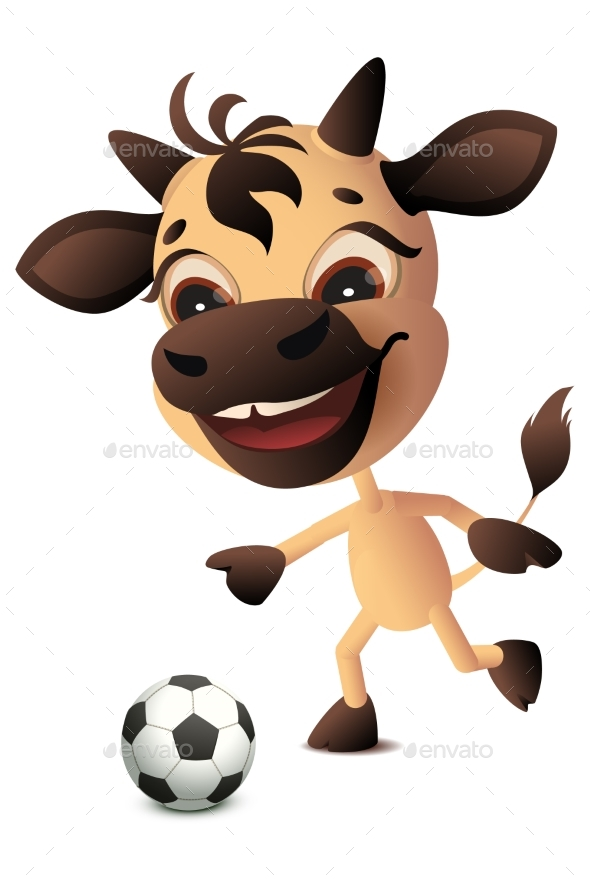 Cow Bull Symbol 2021 Year Plays Soccer Football