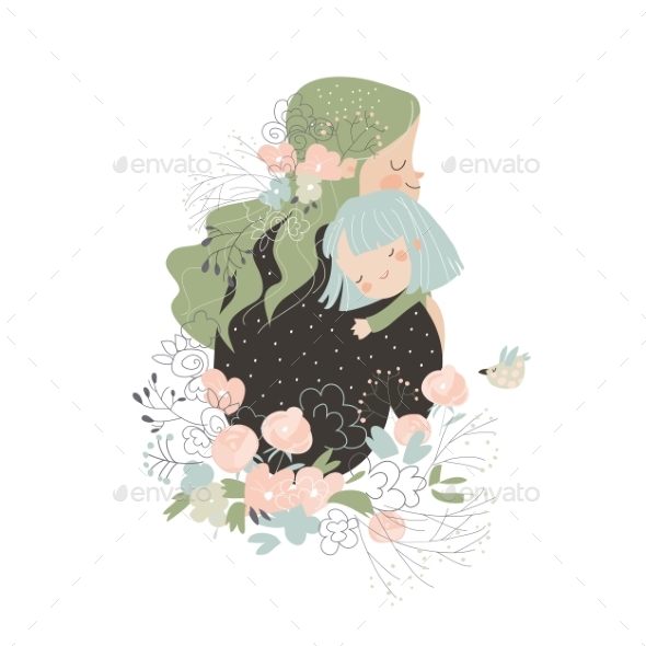 Mother Hugging Her Daughter in Flowers
