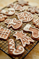 Fresh baked Christmas shaped gingerbread cookies placed on steel grill - PhotoDune Item for Sale