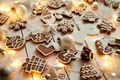Christmas sweets composition. Gingerbread cookies with xmas decorations - PhotoDune Item for Sale
