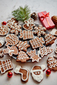 Different shapes of Christmas gingerbread cookies assorted in circle - PhotoDune Item for Sale
