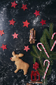 Santa reindeer made of gingerbread cookie with red stars - PhotoDune Item for Sale