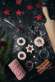Top view of Christmas cookies with marmalade on black background - PhotoDune Item for Sale