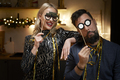 Couple have fun during making New Year's Eve photo booths - PhotoDune Item for Sale