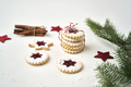 Stack of Christmas cookies tied with white and red rope - PhotoDune Item for Sale