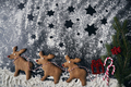 Santa reindeers made of gingerbread cookie on a winter background - PhotoDune Item for Sale