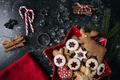 Christmas cookies in red bowl on black background - PhotoDune Item for Sale