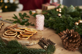 Close up of table full of Christmas decorations - PhotoDune Item for Sale