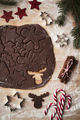 Top view of raw gingerbread dough on Christmas wooden table - PhotoDune Item for Sale