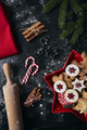 Close up top view of Christmas cookies in red bowl - PhotoDune Item for Sale