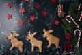 Santa reindeer made of gingerbread cookie with stars in red - PhotoDune Item for Sale