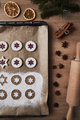 Vertical top view of half of baking tray with cookies - PhotoDune Item for Sale