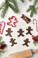 Top view of gingerbread men on white background - PhotoDune Item for Sale