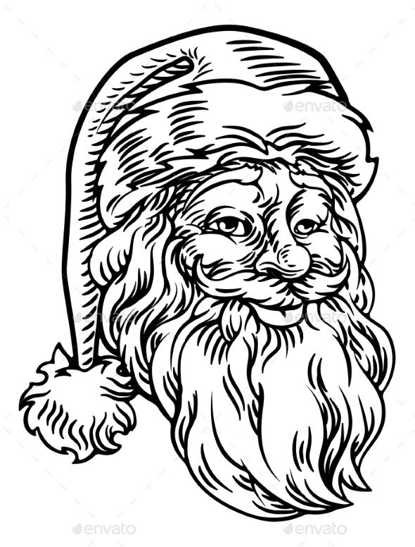 Christmas Santa Claus Face Retro Woodcut Style