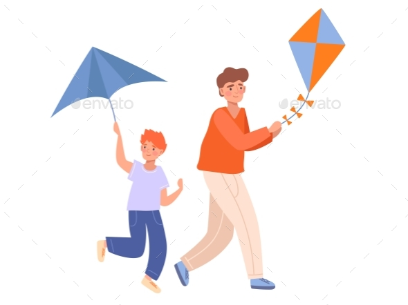 Two Brothers Playing with Kites