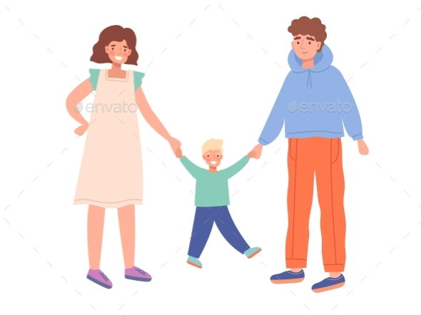 Mother, Father and Little Son Walking Together