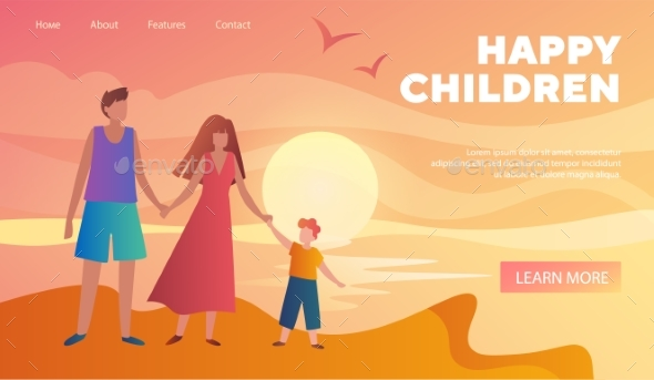 Happy Child with Parents